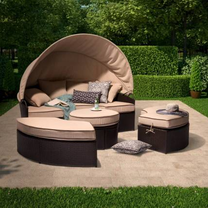 Home Decor- The Best Most Comfortable Outdoor Furniture - Round Day Bed Sectional Set
