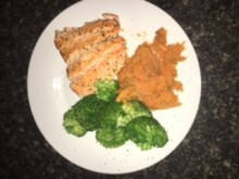 baked trout, sweet potato, brocolli