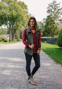 Add a pop of color with a plaid shirt