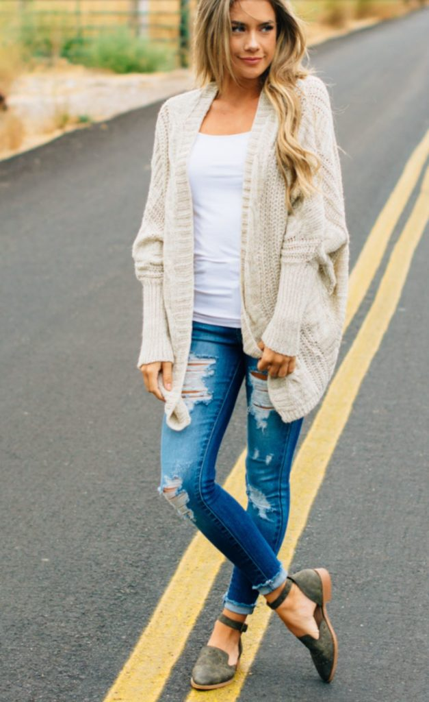 chunky cable knit cardigan fall winter wardrobe must have