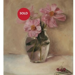 peonies in glass vase sold,