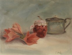 2015-10-floral.Lilies.Hale.Pink Lilies and Antique English Tea Pot