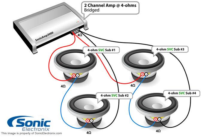 four single 2 ohm subs 2 ohm mono diagram