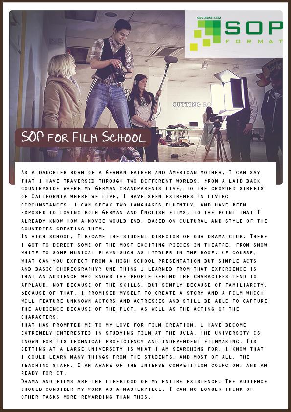Format of Best Sop for Film School SOP Format