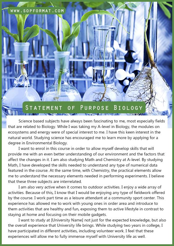 Statement of Purpose Biology Format Statement of Purpose Biology - statement of purpose