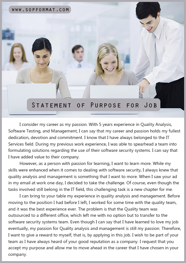 Statement of Purpose Format for Job Statement of Purpose Format - sample statement of purpose
