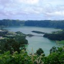 The twin crater lakes at Sete Cidades in the Azores archipelago, Atlantic Ocean