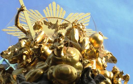 Gilded statue on Graben street in Vienna, Austria