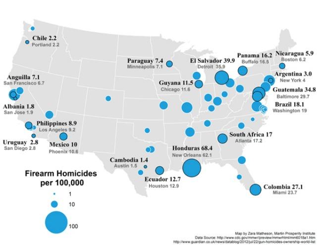 Mapa de tasa de homicidios en Estados Unidos