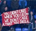 Aficionados del Liverpool, mostraron su repudio por Margaret Tatcher