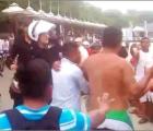 Hooligans polacos pelean contra marinos mexicanos