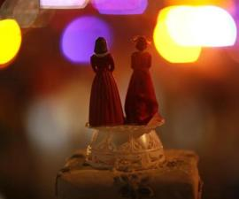 Two bride figurines are seen during a rally in response to the California Supreme Court's ruling regarding Proposition 8 in Hollywood