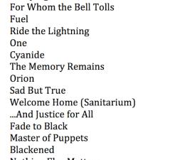 Setlist Metallica 9 agosto Palacio de los deportes 2012