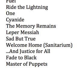 Metallica Setlist 4 agosto 2012