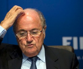 FIFA President Sepp Blatter gestures during a press conference at the FIFA headquarters in Zurich, Switzerland, Friday, March 30, 2012. Blatter promised that football's governing body will change the way it investigates corruption. FIFA's single-chamber ethics committee failed to gather enough evidence to prosecute some allegations of vote-rigging during the 2018 and 2022 World Cup bidding contests. (AP Photo/Anja Niedringhaus)