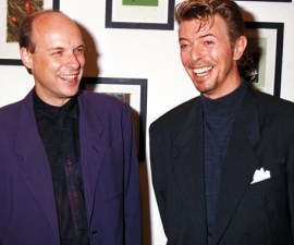 "UNITED KINGDOM - CIRCA 1991:  ""Artwork For Bosnia"", Celebrity Art Show In London, Brian Eno And David Bowie  (Photo by Dave Benett/Getty Images)"