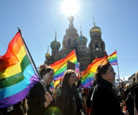 Gay rights activists march in Russia's second city of St. Petersburg May 1, 2013, during their rally against a controversial law in the city that activists see as violating the rights of gays. AFP PHOTO / OLGA MALTSEVA        (Photo credit should read OLGA MALTSEVA/AFP/Getty Images)