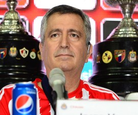 Photo during the official presentation of the new Technical Director of Team Guadalajara for the Apertura 2015 tournament, at Omnilife Stadium, in the photo: Jorge Vergara  of Guadalajara   Foto durante la presentacion oficial del Nuevo Director Tecnico del Equipo Guadalajara para el Torneo Apertura 2015, en el Estadio Omnilife, en la foto:  Jorge Vergara de Guadalajara  18/09/2015/MEXSPORT/Adrian Macias.