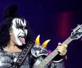 The bassist of US rock band Kiss, Gene Simmons, performs on stage during the Hellfest Heavy Music Festival on June 22, 2013 in Clisson, western France. AFP PHOTO JEAN-SEBASTIEN EVRARD        (Photo credit should read JEAN-SEBASTIEN EVRARD/AFP/Getty Images)