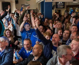 Leicester City Fans Gather To Watch Their Match Against Manchester United