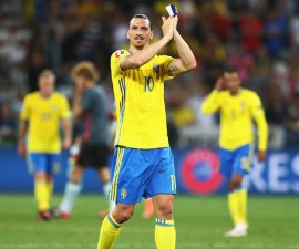 NICE, FRANCE - JUNE 22:  Zlatan Ibrahimovic of Sweden applauds the fans after defeat in the UEFA EURO 2016 Group E match between Sweden and Belgium at Allianz Riviera Stadium on June 22, 2016 in Nice, France.  (Photo by Lars Baron/Getty Images)