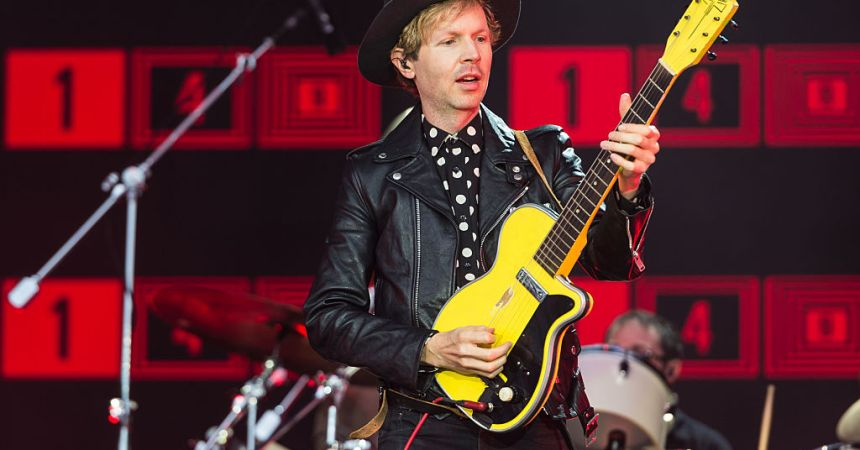 GLASTONBURY, ENGLAND - JUNE 26:  Beck performs on the Pyramid Stage on day 3 of the Glastonbury Festival at Worthy Farm, Pilton on June 26, 2016 in Glastonbury, England. Now its 46th year the festival is one largest music festivals in the world and this year features headline acts Muse, Adele and Coldplay. The Festival, which Michael Eavis started in 1970 when several hundred hippies paid just £1, now attracts more than 175,000 people.  (Photo by Ian Gavan/Getty Images)