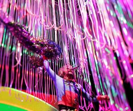 SYDNEY, AUSTRALIA - JANUARY 09:  (EDITORS NOTE: Image was created using a variable planed lens.) Wayne Coyne of The Flaming Lips performs at The Domain on January 9, 2016 in Sydney, Australia.  (Photo by Mark Metcalfe/Getty Images)