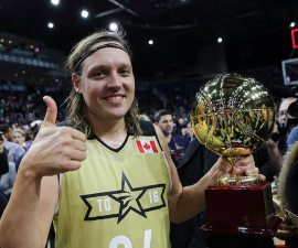 TORONTO, ON - FEBRUARY 12:  Win Butler #34 of Team Canada wins the Player of the Game Award following the NBA All-Star Celebrity Game against Team USA at the Ricoh Coliseum on February 12, 2016 in Toronto, Ontario, Canada.  NOTE TO USER: User expressly acknowledges and agrees that, by downloading and or using this photograph, User is consenting to the terms and conditions of the Getty Images License Agreement.  (Photo by Vaughn Ridley/Getty Images)