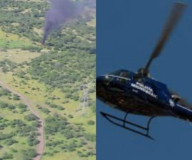 Presuntos miembros del crimen organizado derribaron un helicóptero de la Policía Estatal de Michoacán