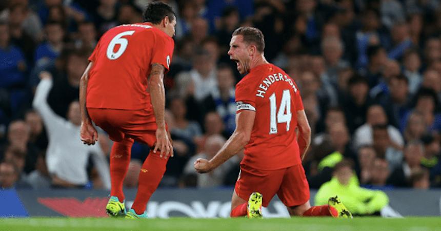 Jordan Henderson celebrando su gol contra el Chelsea