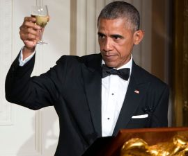 WASHINGTON, DC - AUGUST 02: President Obama makes a toast in honor of Prime Minister Lee Hsien Loong in the East Room of the White House on August 2, 2016 in Washington, DC. The Obamas are hosting the prime minister and his wife for an official state dinner.  (Photo by Leigh Vogel-Pool/Getty Images)