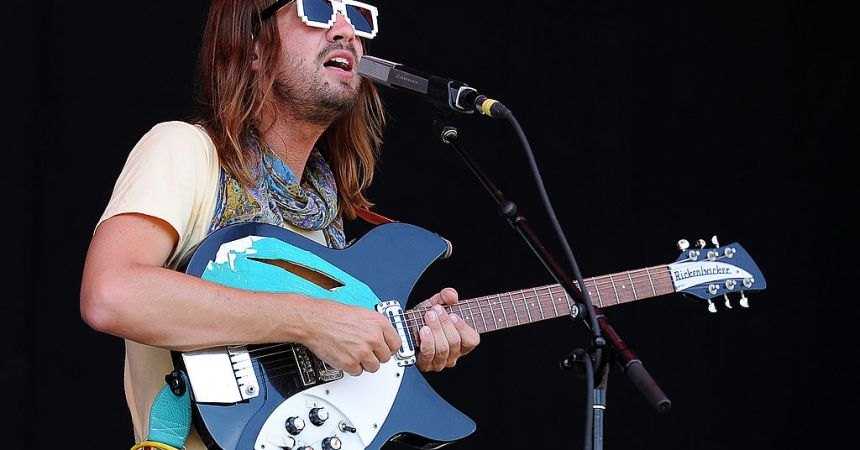 GOLD COAST, AUSTRALIA - JANUARY 19:  Kevin Paker of Tame Impala performs live for fans during the 2014 Big Day Out Festival at Metricon Stadium on January 19, 2014 on the Gold Coast, Australia.  (Photo by Matt Roberts/Getty Images)