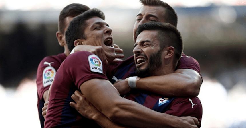 Fran Rico celebrando su gol contra el Real Madrid