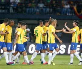 Selección de Brasil festeja