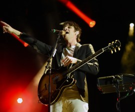 LAS VEGAS, NV - MAY 08:  Frontman Mark Foster of Foster the People performs during Rock in Rio USA at the MGM Resorts Festival Grounds on May 8, 2015 in Las Vegas, Nevada.  (Photo by Ethan Miller/Getty Images)