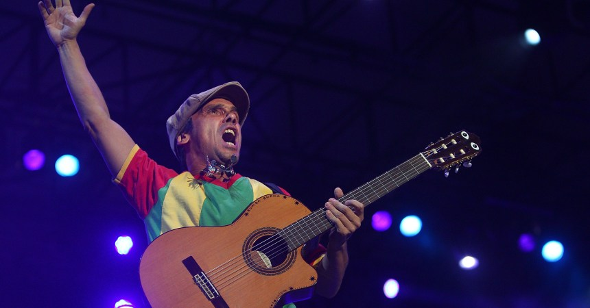 SYDNEY, AUSTRALIA - JANUARY 07:  Manu Chao performs live at Sydney Festival First Night at the Domain Stage on January 7, 2012 in Sydney, Australia.  (Photo by Marianna Massey/Getty Images)