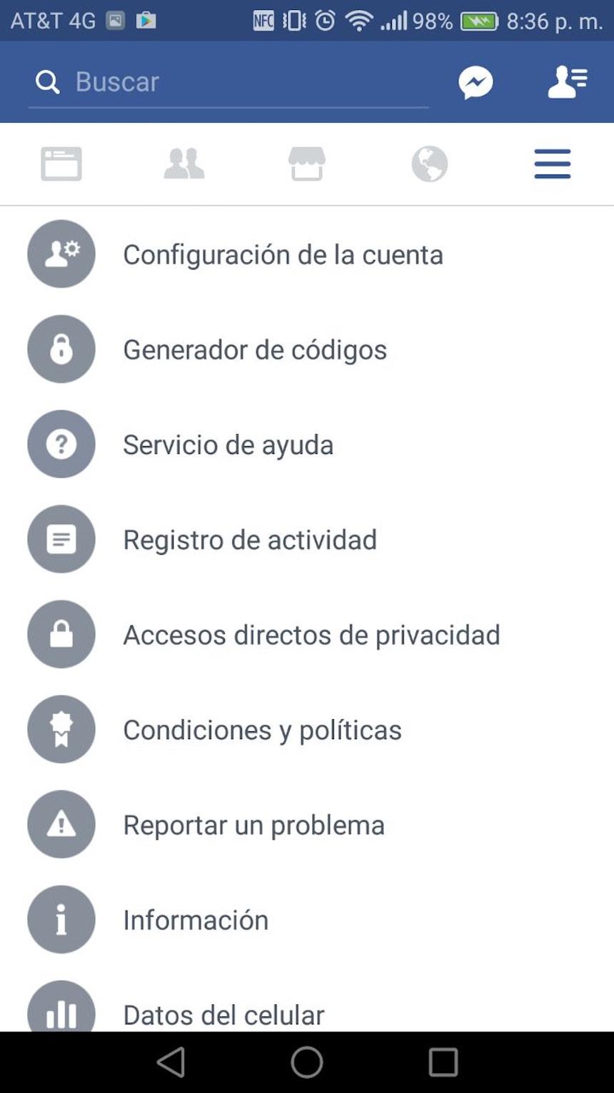 Configuraciones de Facebook