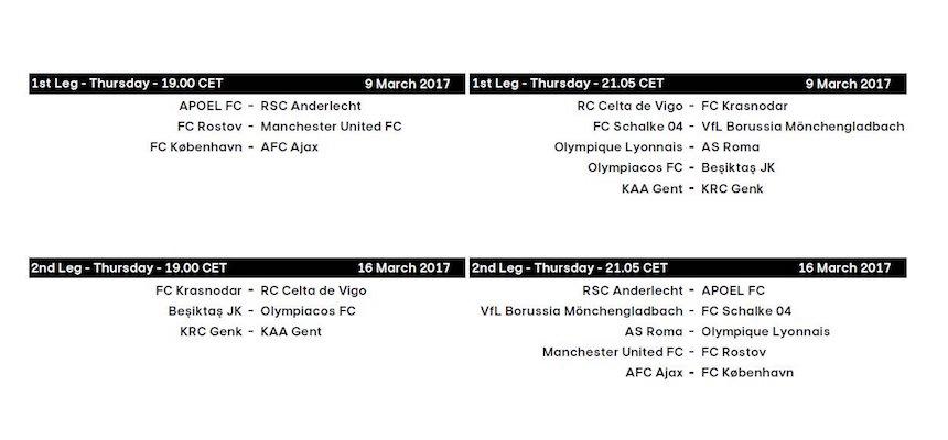 Horarios de los Octavos de Final de la Europa League