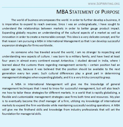 statement of purpose mba - Goalgoodwinmetals - Sample Of Statement Of Purpose