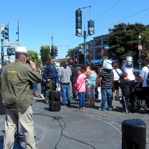 SCOTT CRAWFORD PREACHES AT FISHERMAN'S WHARF.