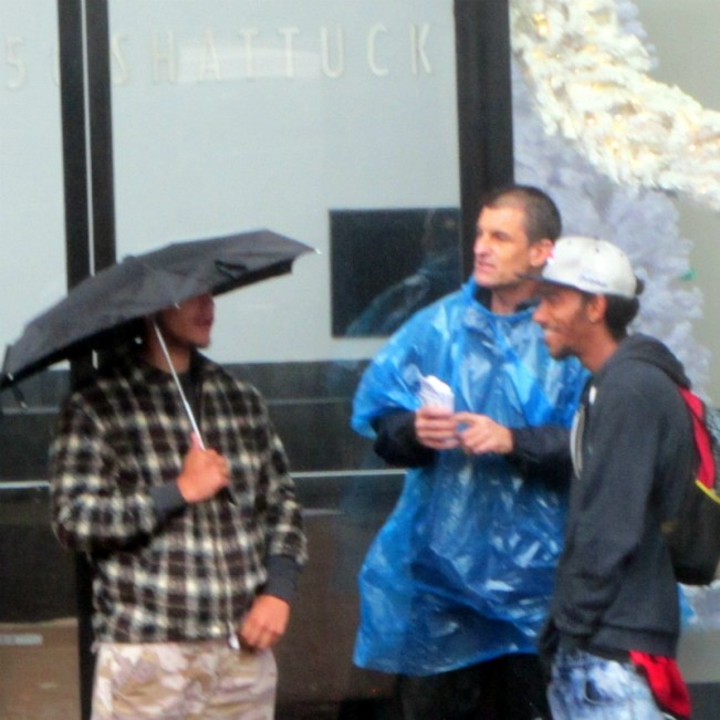 MIKE WITNESSES ON RAINY DAY IN BERKELEY.