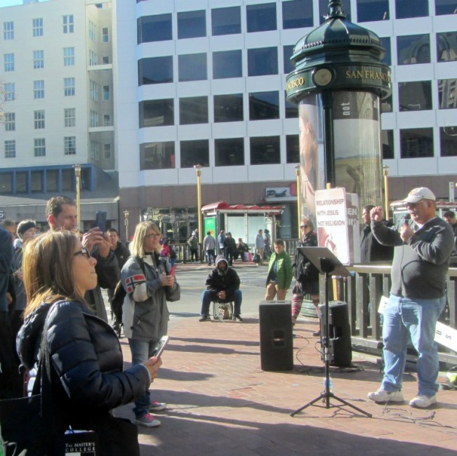 STEVE PREACHES AT 5TH AND MARKET.