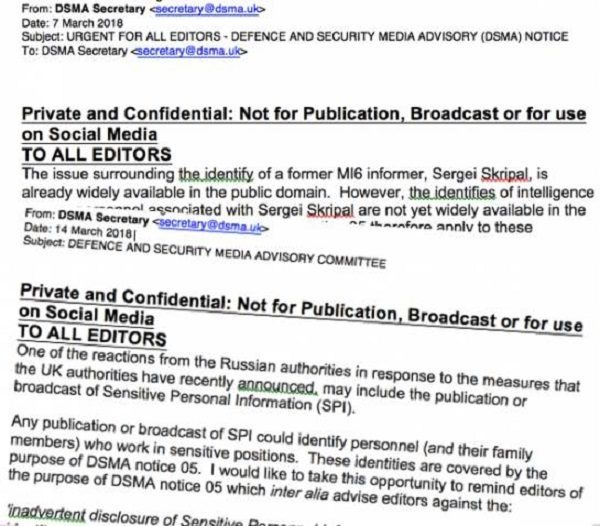 DSMA committee issued two \u0027D-notices\u0027 over Skripal affair