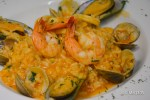 Risotto alla pescatora: Risotto with black mussels, calamari, bay scallops, clams in a light spicy red sauce.
