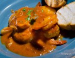 Black Tiger Shrimp in wine garlic tomato sauce at Cibo Wine Bar.