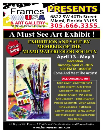 ART SHOW GALLERY OPENING MIAMI WATERCOLOR POSTER-REV