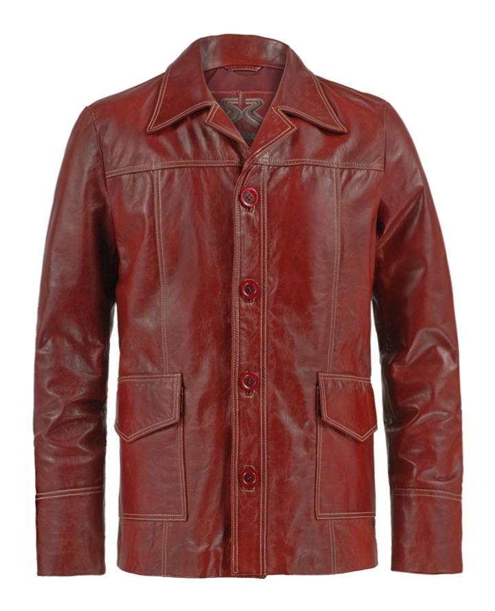 Fight Club Red Leather Jacket Brad Pitt Soul Revolver