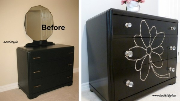 painted dresser nail head design
