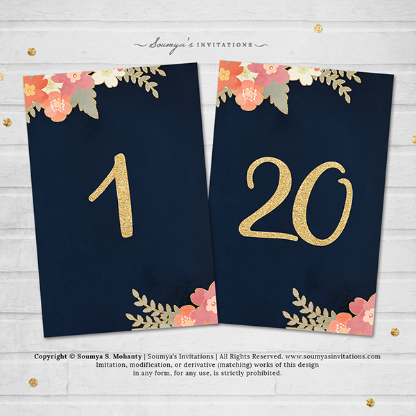 Navy Blue Gold Wedding Table Numbers, Navy Blush Pink Coral Peach