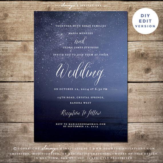 Navy Blue Wedding Invitation, Starry Night Wedding Invitation, Star